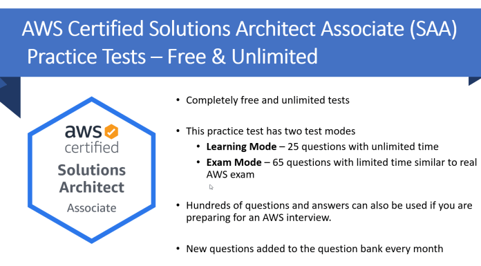 aws architect associate certification SAA practice test