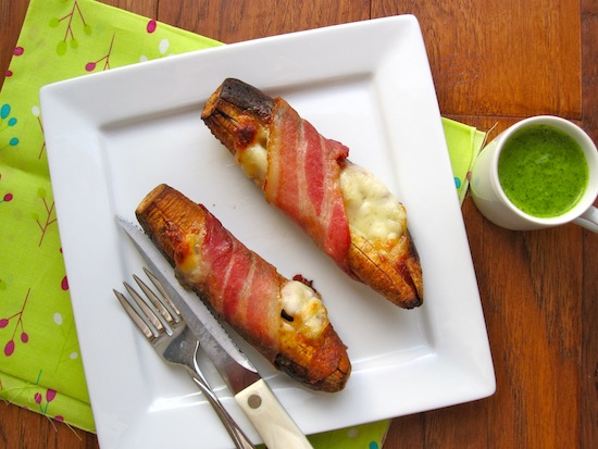 Plantains with bacon and Cheese