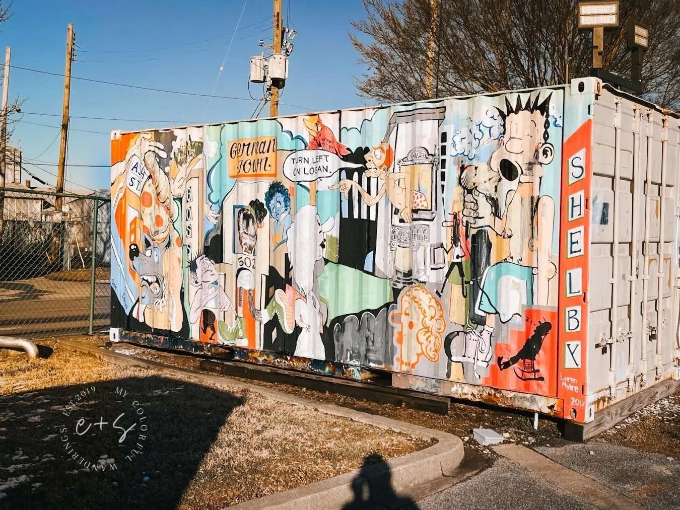 Germantown Logan Street Shelby Storage Container Mural - Louisville Murals
