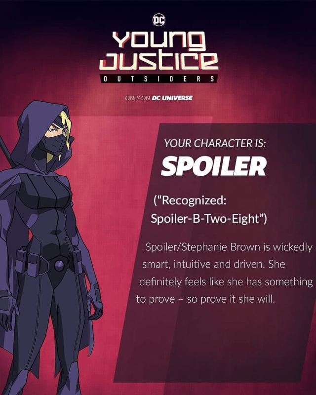 young justice outsiders spoiler stephanie brown new character