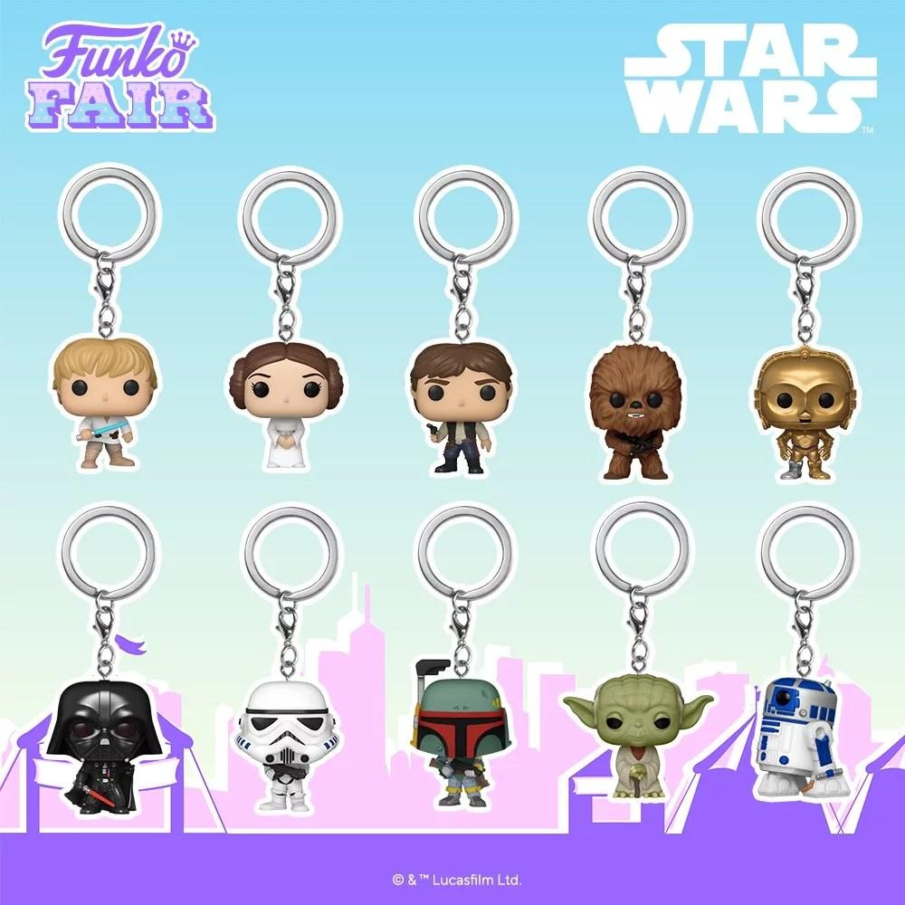 Funko Toy Fair Star Wars Pop! Keychains preorder Luke Skywalker Leia Han Solo Chewbacca Chewy C-3P0 R2-D2 Darth Vader Stormtrooper Boba Fett Yoda