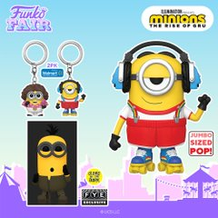funko fair day 7 animation toy fair 2021 minions the rise of gru 70's bob roller skating skate stu stuart glow in the dark kung fu kevin jumbo sized pocket pop keychain