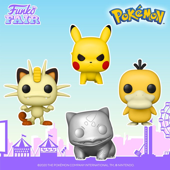 funko fair day 3 toy fair 2021 sports and games pokemon meowth psyduck bulbasaur silver chrome metallic pikachu attack stance pop