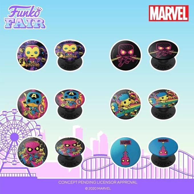 funko fair day 4 2021 marvel pop socket popsocket blacklight spider-man miles morales iron man thor captain america