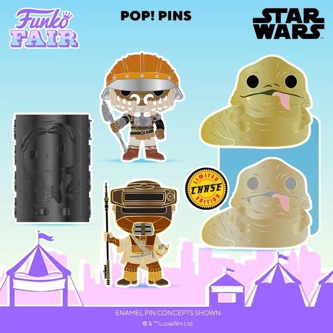 Funko Toy Fair Star Wars Pop! Pin Chance of Chase Preorder Lando Calrissian Princess Leia Boushh Jabba Hutt Han Solo Carbonite