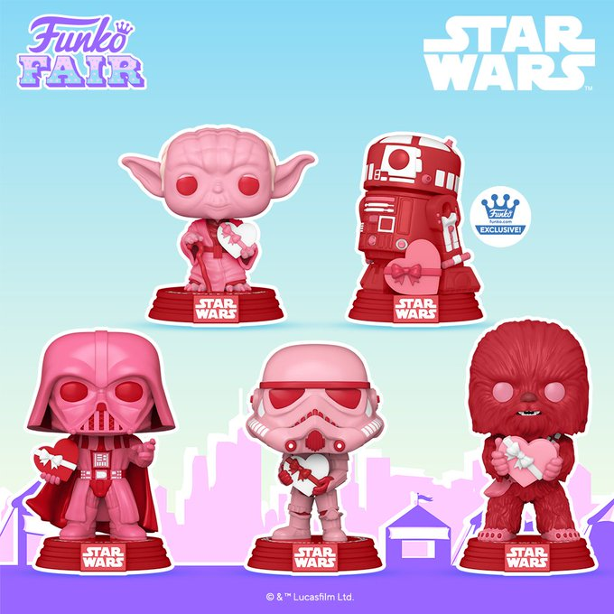 Funko Toy Fair Star Wars Valentines Day Pop! Preorder Yoda R2-D2 Darth Vader Stormtrooper Chewbacca Chewy