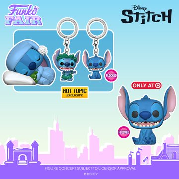 funko fair day 8 toy fair 2021 disney lilo and stitch exclusive pop seated smiling flocked sleeping hula hot topic target