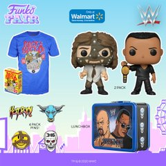 funko fair day 3 toy fair 2021 sports and games wwe wrestlemania wrestling mankind vs versus the rock pop pin lunchbox tee shirt walmart exclusive