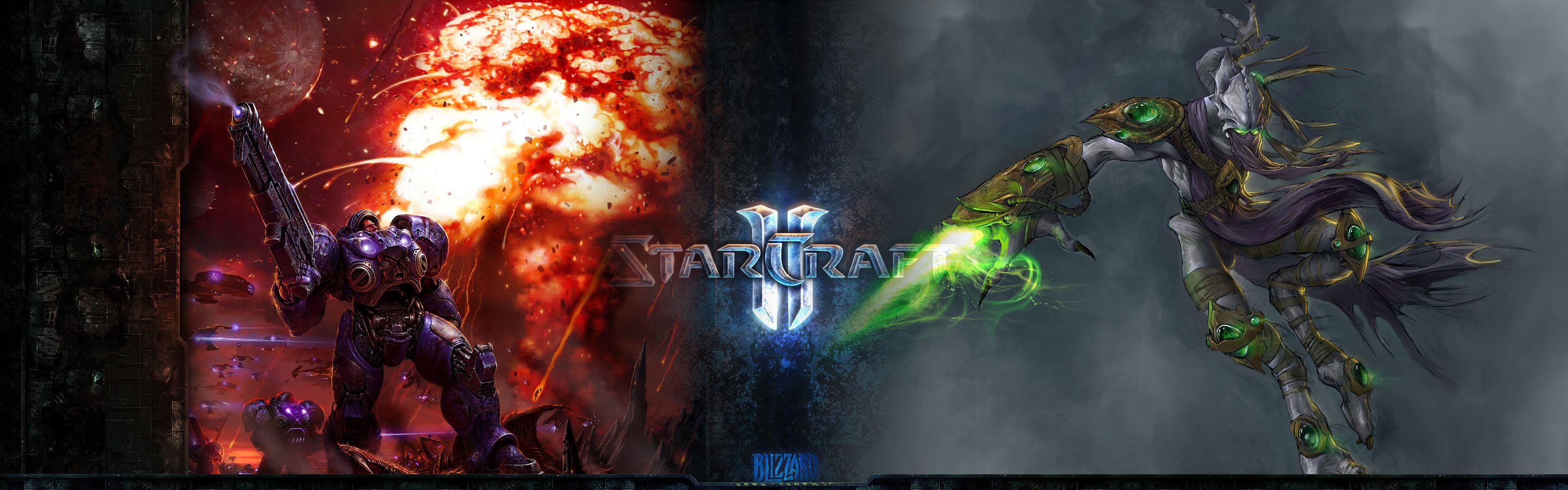 Starcraft Dual Monitor Wallpaper – Terrans and Protoss