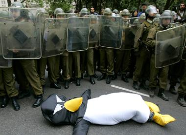 Penguin attacks riot police in Chile