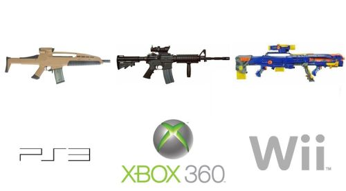 ps3 vs xbox 360 vs wii - guns