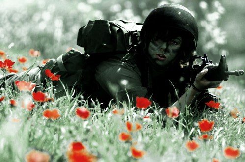 Female Soldier in Red Flower bed