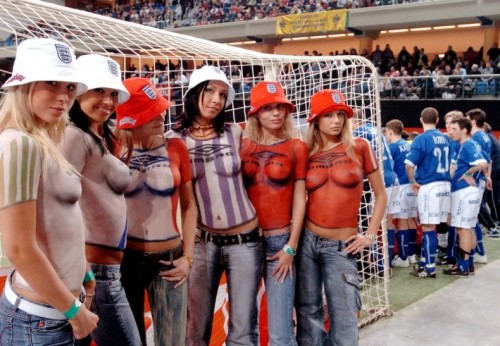 nsfw - painted soccer fans
