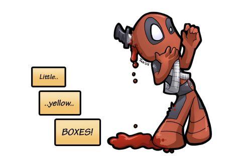 Deadpool's little yellow boxes