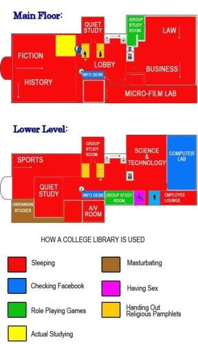how a college library is used
