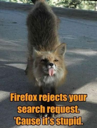 firefox rejects your search request - cause it's stupid