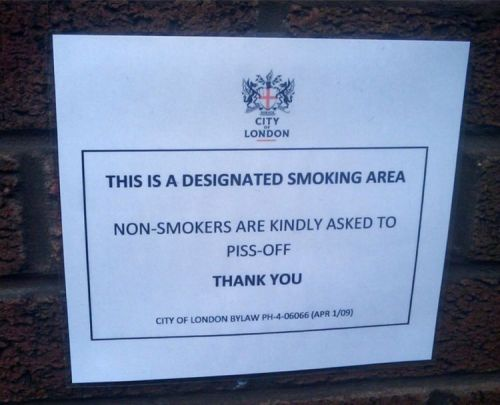 this is a designated smoking area