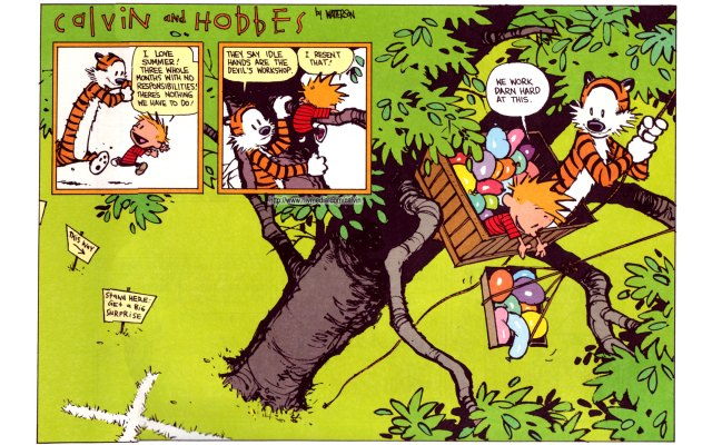 calvin and hobbes - working hard at this