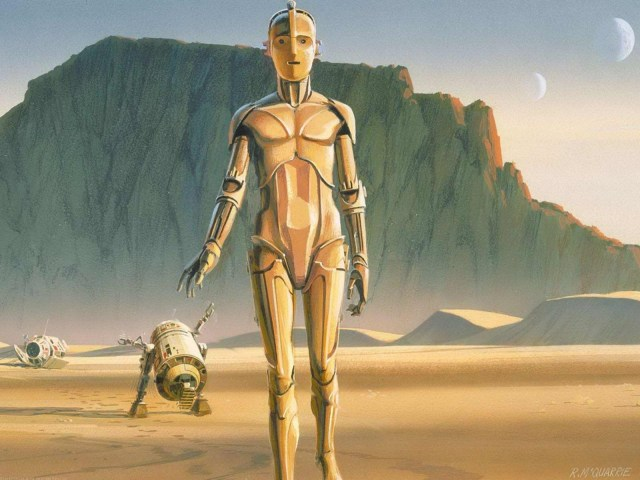 star wars concep art - a2-d2 and C3PO