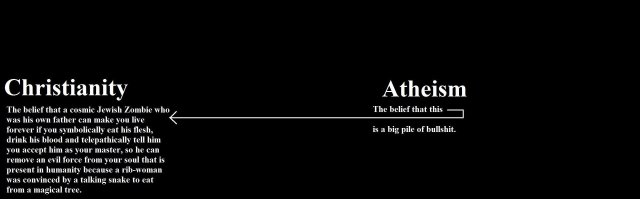 atheism - the belief that this - is a big pile of bullshit