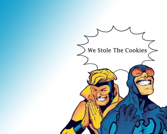 booster gold and blue beatle stole the cookies