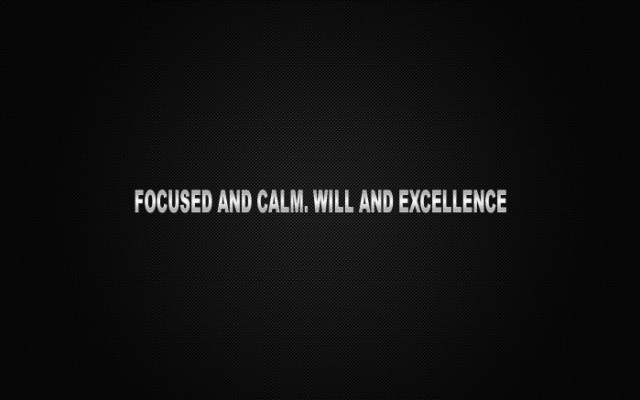 focused and calm - will and excellence