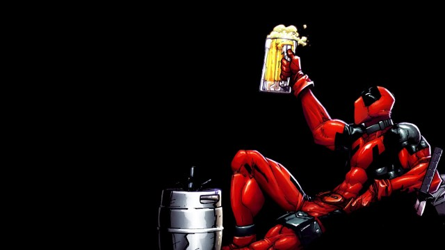 deadpool drinks beer