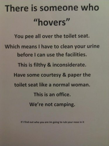 Hovering is filthy and inconsiderate
