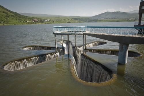 Spillway at the Kechut Reservoir near Jermuk in Armenia