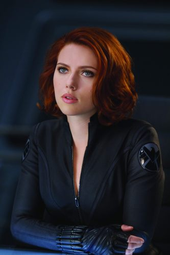 black widow pushing her boobs out
