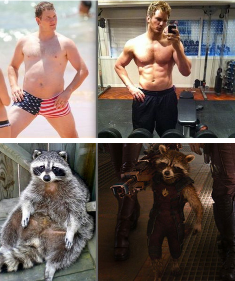 same pratt and rocket racoon - before and after