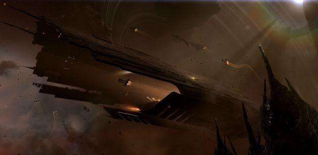 Eve 'Hel' supercarrier with support from a Stabber class cruiser, three Rifter class frigates, and two 'Einherji' fighters.jpg