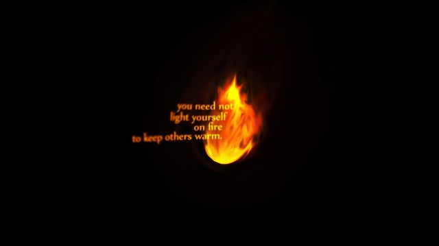 you need not light yourself on fire to keep others warm.jpg