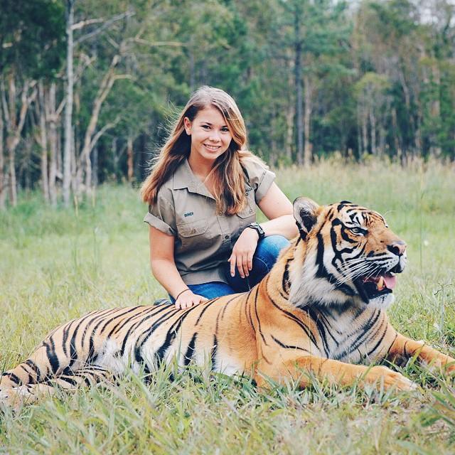 Bindi Irwin with a Bengal Tiger.jpg