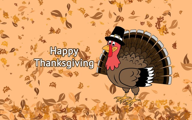 Happy Thanksgiving Wallpaper - Turkey and Leaves.jpg