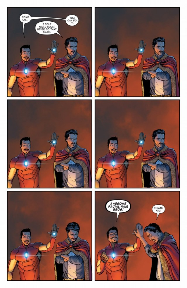 Iron man and Dr Strange share a high five.jpg