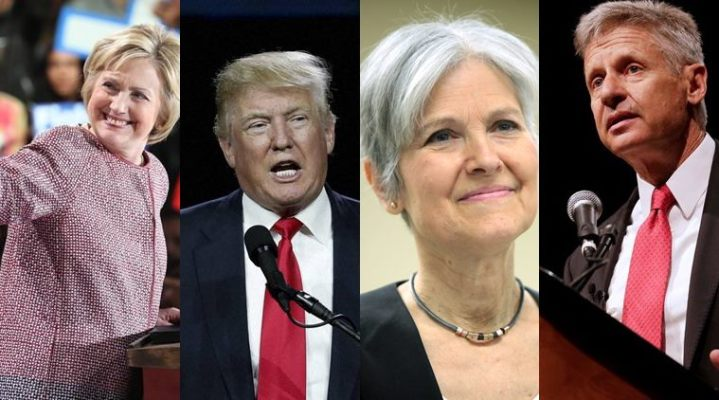 Hilary Clinton, Donald Trump, Jill Stein and Gary Johnson.jpg