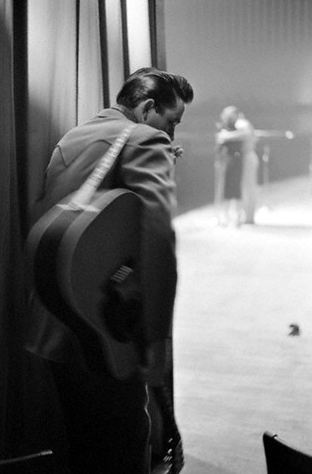 February 1959, White Plains, New York, USA --- Johnny Cash Watching from Backstage --- Image by © Marvin Koner/CORBIS