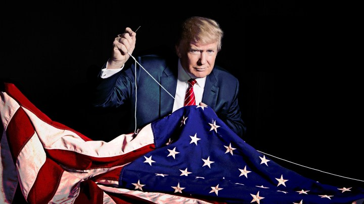 Donald Trump sewing his name into the American Flag.jpg
