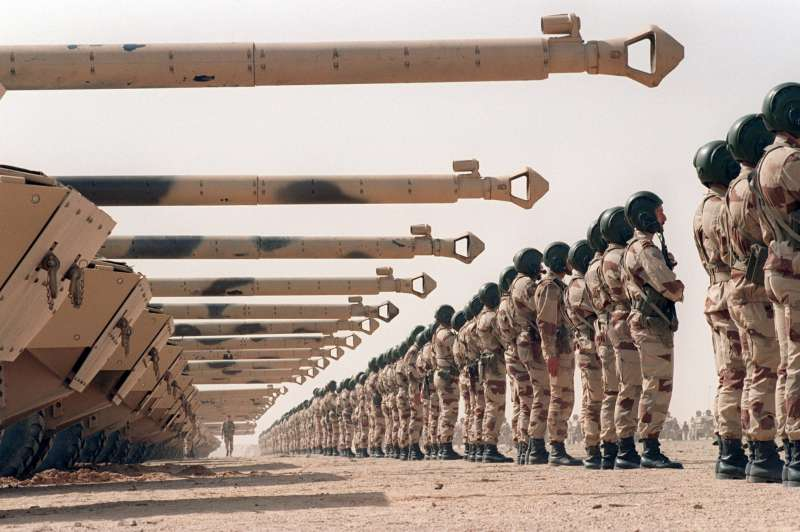 French Army AMX-10 crews standing in front of their tanks during a ceremony after Desert Storm 800?
