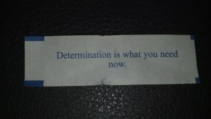 Determination is what you need now.