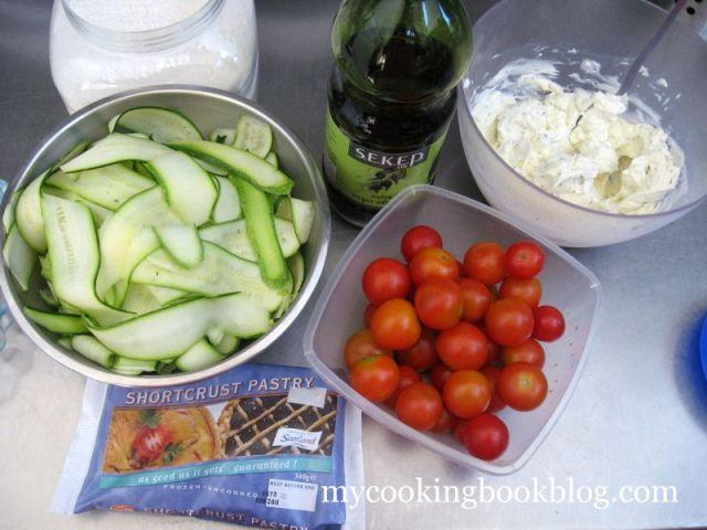 Лятна тарта с Босилек, Филаделфия, Чери домати и Тиквички