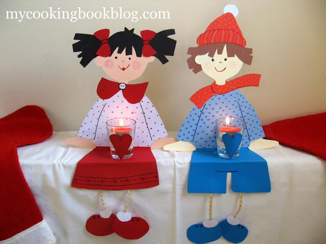 Апликация за Коледна декорация: момиче и момче със свещички
