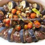 Патладжан-кебап на фурна и винено-доматен сос