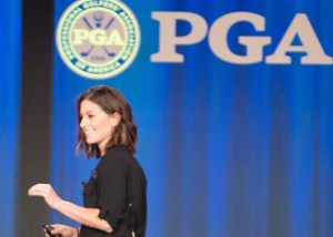 PALM BEACH GARDENS, FLORIDA - NOVEMBER 11: Joni Lockridge speaks during Welcome and Opening Session at the 99th PGA Annual Meeting at PGA National Resort & Spa on November 11, 2015 in Palm Beach Gardens, FL. (Photo by Montana Pritchard/The PGA of America)