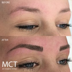 Before & After feathering eyebrow tattoo