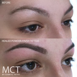 Before & Healed Powder Finish Brow Tattoo