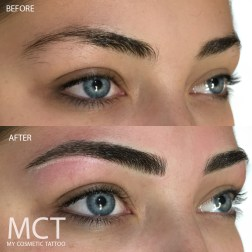 Brow Feathering Tattoo, hair by hair strokes