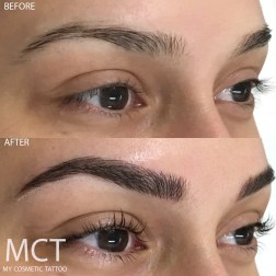 Before and After 3D Brow Feathering Tattoo and lashlift