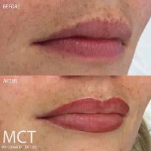 Before and healed lip blend tattoo.